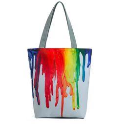 Wholesale Free Paint Shop - Harajuku Style Colorful Painting Canvas bag Shoulder Bag Women Large Capacity Shopping Bag Female Casual Tote Handbag Free shipping