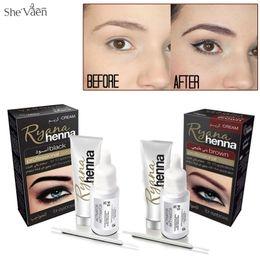 Крем для татуажа онлайн-Ryana Henna Natural Eyebrow Tint Kit Brown Black Brows Dyeing Permanent Eyebrow Cream Tattoo Painting