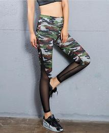 Wholesale camouflage leggins - Women Yoga Pants Camouflage Printed Mesh Stitching Pencil Pants Elasticity Slim Jeggings Ladies Leggins Pantalon Stretch Femme