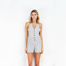72865d3f6a Casual Women s Playsuits Summer Femme Striped Lace Up Halter Jumpsuits  Cotton Backless Sexy Bodysuit Women Button Romper X6005