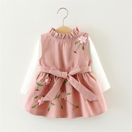 Wholesale Dress Kids Clothing Embroidery - Kids autumn set Baby girls white long sleeve T-shirt+ Fashion embroidery floral Dress clothing set 1-3 Years