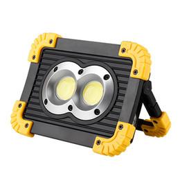 2019 projecteurs utilisés USB rechargeable 20W COB LED projecteurs lanterne de travail lumière lanterne utiliser 18650 piles lumière crue de secours lampe de camping lampe projecteurs utilisés pas cher