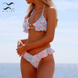 2019 plus größe badebekleidung rüsche Bikinx gekräuselte Bikinis 2018 Frau Blumendruck Badeanzug weiblich Bondage Bikini-Set Push-up-Badebekleidung plus Größe zweiteilige Anzüge günstig plus größe badebekleidung rüsche