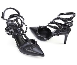 Wholesale Strappy Purple Shoes - Designer Pointed Toe 3-Strap with Studs high heels Patent Leather rivets Sandals Women Studded Strappy Dress Shoes valentine high heel Shoes