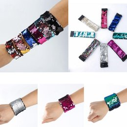 Wholesale Mermaid Costume Accessories - Magic Sequin Mermaid Bracelet Women Girl Sequin Wristband Charm Fish Scales Bangle Jewelry Gifts multi-Colors 1000pcs