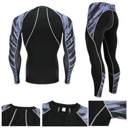 Kit de inverno térmico on-line-Homens Conjunto Camisa Correndo + Sports Leggings 2 Peça Kit de Compressão Sportswear Velo Térmica Roupa Interior Dos Homens Ternos de Esportes de Inverno