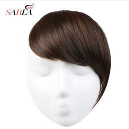 2019 schwarze katze kupplung Hair Pony Clip in geschwungenen Seite Fringe gefälschte falsche Bang Extensions natürliche synthetische Haarteil Haarteil schwarz blond B2