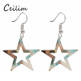 Wholesale Big Unique Earrings - Korean Cute Colorful Acrylic Pentagram Earrings for Woman Large Star Earrings Big Pentagram Unique Design Jewelry Fit Holiday Gifts