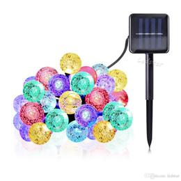 2019 boules de cristal lumières de noël 20ft 30 LED boule de cristal solaire alimenté par le globe solaire s'allume pour la décoration de Noël de jardin extérieur imperméable promotion boules de cristal lumières de noël