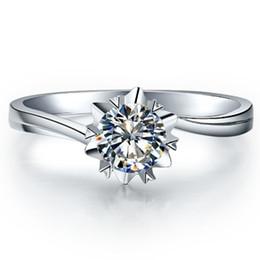 Solitär verlobungsring weißgold online-Echtes S925 0,5 CT Snow Flake Qualität Synthetische Diamanten Frauen Ring Engagement Solitaire Sterling Silber Weiß Gold Farbe Ring