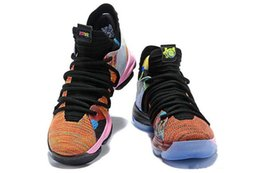 kd basketball sneakers Promo Codes - 2018 New Arrival What the KD X 10s Ice Blue Pink Green Sports Basketball Shoes 10s Kevin Durant 10 EP Athletic Sneakers US 7-12