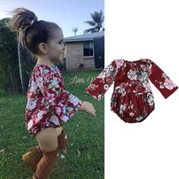 chineses onesies Desconto Baby girl retro floral macacão onesies flor chinesa macacão vermelho primavera outono mangas compridas kid meninas roupas roupas bodysuit 0-24 M