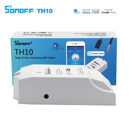 tension de la carte sd Promotion Sonoff TH10 intelligent Wifi Commutateur de température Surveillance de l'humidité Wifi Smart Switch Home Automation Kit Fonctionne avec Google Accueil Alexa