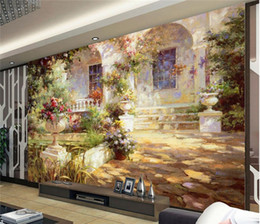 Wholesale Country Landscape Paintings - Custom 3d photo wallpaper Garden Landscape Oil Painting Sofa TV background wallpaper 3d Kids room mural wallpaper