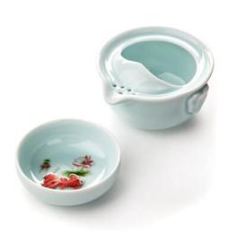 Deutschland heißer Verkauf Quik Cup 1 Topf und 1 Tasse Seladon Büro / Reise Kung Fu schwarzer Tee Set Drink Grüner Tee Werkzeug T309 Versorgung