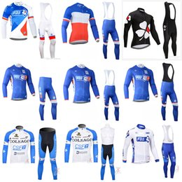 Wholesale cycling bib longs - FDJ COLNAGO team Cycling long Sleeves jersey (bib) pants sets in spring autumn bicycle wear MTB bike sport ropa ciclismo hombre E1104