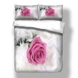 Wholesale romantic king bedding - Wongsbedlinen 3D Romantic Rose Bedding Set Pink Rose Duvet Cover Twin Queen King Size 3PCS Bedclothes Free Shipping