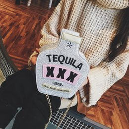 glitter wallets Coupons - Fashion Style Tequila bottle Purse Women's Pouch Messenger Bag Girl Shoulder Bag Wallet Pouch Party Glitter Clutch -4849