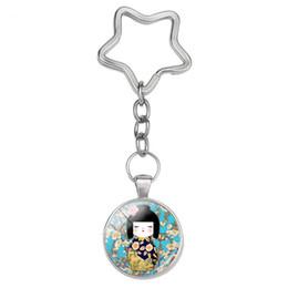 muñeca japonesa Rebajas Moda japonesa Kokeshi Star Keyring The Kimono Doll Llavero Cabujón de cristal Colgante Joyería Pulsera Llaveros para mujeres