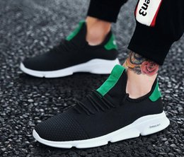 Wholesale korean man shoes style - 2018 summer sports new style single shoes Korean version of the trend mesh cloth breathable shoe casual shoes fly mesh shoes L434