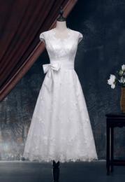 Wholesale Tea Length Slim Dresses - Ivory Lace Wedding Dress in Slim A Line Sexy Backless Keyhole Vintage Inspired Wedding Dress Tea Length wedding dresses XWJ002
