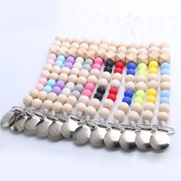 Wholesale Wood Pacifier Clip - Baby Pacifier Clip Metal Dummy Clip Wood Beads Pacifier Chain Nipple Soother Holder Baby Feeding Clips