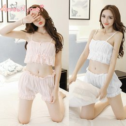 Wholesale Japanese Pink Girls - Amourlymei Summer Sexy Cotton Lace Women Pajama Set Japanese Style Mori Girl Lolita Kawaii Seep Set Princess Sleepwear Homewear