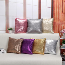 car gift decoration Promo Codes - Creative glitter sequins pillow case pillow cover car waist pillowcase sofa cushion cover home decoration nice gifts