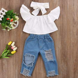 14838b5adaf Summer Toddler Infant Child Girl Kids Off Shoulder Tops Denim Pants Jeans  Outfits Headband 3Pcs Set Clothing Sets