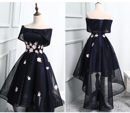 navy blue occasion dresses women Promo Codes - Chic Navy Blue Homecoming Dresses Hi-lo Off Shoulder A Line High Low Cocktail Party Dresses Formal Women Special Occasion Evening Gowns