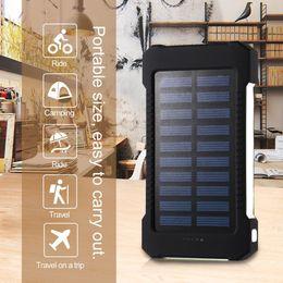 Wholesale Power Bank Solar - 30000mAh Solar power bank waterproof shockproof Dustproof portable Solar powerbank External Battery for Cellphone iPhone 7