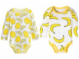 frutta abbigliamento Sconti Pagliaccetto bambino pagliaccetto cotone tuta tuta vestiti 0-24 M frutta lomon ananas banana stampa pagliaccetto 14 stili
