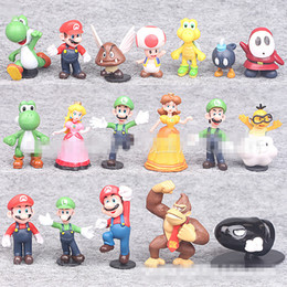 Wholesale Super Mario Peach - 3-5.5cm new Super Mario Bros 18pcs set 100set lot PVC Figure topper Super Mario nds Luigi Peach yoshi Mario Doll toy hand ornaments