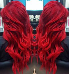 2019 perruques de dentelle bang rouge Perruque de Cheveux Humains Avant de Lacet Rouge 180% Densité Vague de Corps Avec Bangs Perruque de Cheveux Vierges Péruvienne Avec Cheveux de Bébé Délié promotion perruques de dentelle bang rouge