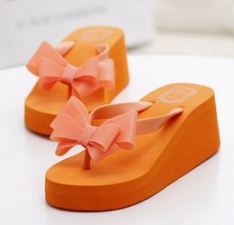 Wholesale Thick Spool Heel Shoes - Summer sandals and slippers women beach shoes high slope with non-slip foot flip-flops thick cute bow