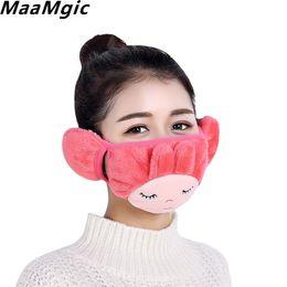 Wholesale Novelty Ear Muffs - 2017 NEW Fashion Women Warm Earmuff Masks fur headphones Plush Ear Muffs Winter Warm Girl Knitted Headphones Cute fur earmuffs