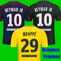 Wholesale Ivory Shirt Women - Thailand Maillot de foot NEYMAR JR soccer jerseys 2017 2018 MBAPPE jersey 17 18 camisa men women black girls football soccer shirt