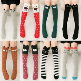 Wholesale Totoro High Socks - cartoon Animal leg warmers 2018 Fashion baby girls & boys knee high Totoro Panda Fox socks kids cute Striped Knee Pad sock