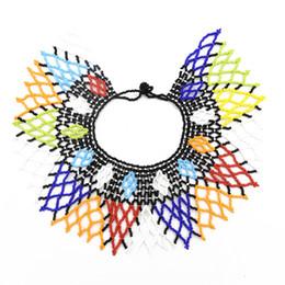Indische ethnische halskette online-African Tribal New Fashion Choker Halsketten Bunte Acryl Perlen Indische Ethnische Bib Choker Halskette Für Frauen Charm Bead Schmuck