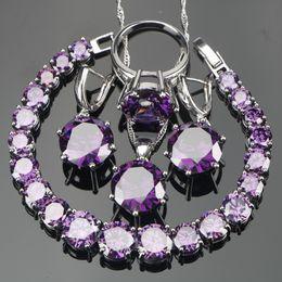 Conjunto de collar de piedra púrpura online-Venta completaBoda Púrpura Circón Plata 925 Conjuntos de joyería Pulseras Pendientes Con Piedras ColgantePendientes de aretes Conjunto Caja de regalo de joyería