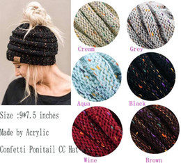 Wholesale Yellow Knit Ski Hat - 2017 Wholesale New Trendy CC Warm Winter Hat For Women Ponytail Beanie Stretch Cable Knit Messy Bun Hats Soft Ski Cap