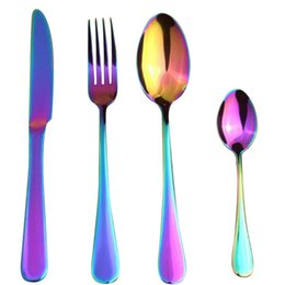 Wholesale Wholesale Wedding Dinnerware - Stainless Steel Colorful Cutlery Set Rainbow Gold Plated Dinnerware Creative Dinner Set Fork Knife For Wedding Party And Hotel