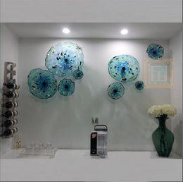 Canada Plaques à fleurs bleues Art mural à l'italienne en verre soufflé Plaques suspendues Art mural à décor de plaques de verre de Murano pour le salon salle à manger cheap italian living rooms Offre