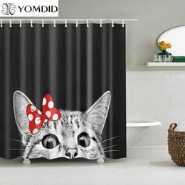 2020 lindas cortinas de baño Lindo gato impresa en 3D cortina de ducha Animal de tela de poliéster cortina de baño para la decoración del baño cortinas de ducha rebajas lindas cortinas de baño