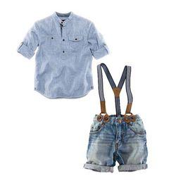 niños tirantes de rayas Rebajas Nuevo verano Boys Denim establece el traje azul rayas camisas + pantalones de jean de la suspensión 2PC trajes Kids party boys ropa conjunto