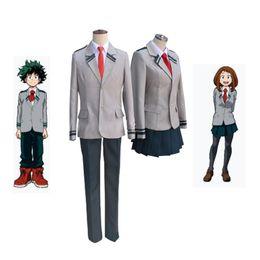 2019 trajes de super-heróis de mulheres adultas Boku não Herói Academia AsuiTsuyu Yaoyorozu Momo Uniforme Escolar Meu Herói Academia OCHACO URARAKA Midoriya Izuku Traje Cosplay