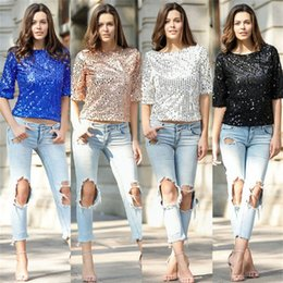Wholesale Xl Gold Sequin Top - Spring Summer Sequins Women T Shirt Sparkles O-Neck Short Sleeves Women Loose T shirt Casual Top Tee