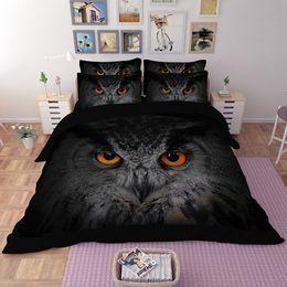 Wholesale Black Quilts - 3D Black Owl Quilt Duvet Doona Cover Set King Queen Full Size Bedding Sets Animal New