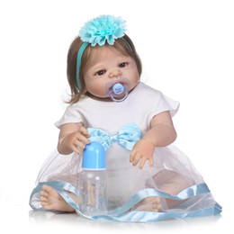 """Wholesale full silicone reborn dolls - 22"""" bebe girl reborn dolls full body silicone reborn baby dolls rooted smooth hair magnetic pacifier bottle white dress"""