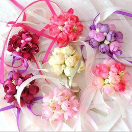 Wholesale Hand Bouquet Rose Pink - Wrist Flower Rose Silk Ribbon Bride Corsage Hand Decorative Wristband Bracelet Bridesmaid Curtain Band Clip Bouquet
